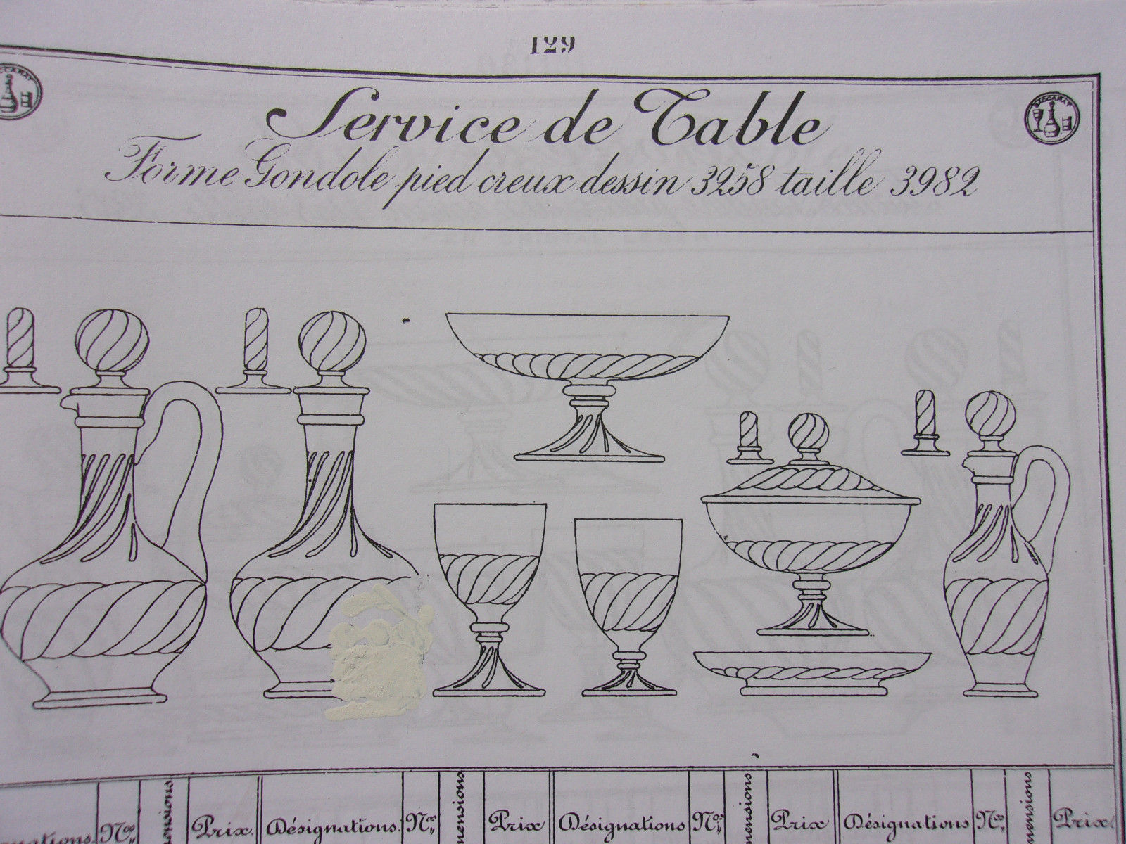 バカラの古いカタログのページ